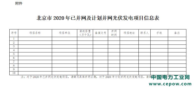 北京市发布2020年并网光伏发电项目国家补贴申报相关工作的通知