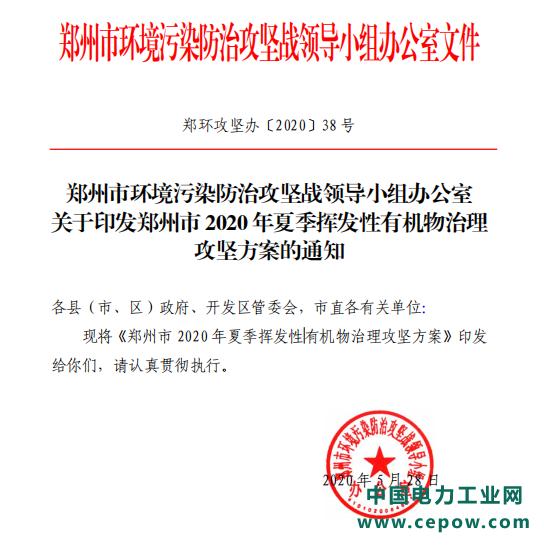 郑州:6月起开展夏季挥发性有机物治理攻坚行动(附政策)